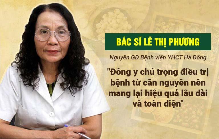 Bác sĩ Lê Thị Phương dành lời khen ngợi cho bài thuốc trị mề đay của Trung tâm Thuốc dân tộc